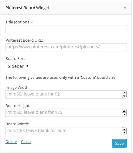Board widget settings