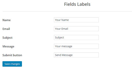 Screenshot 2. How to customize contact form labels