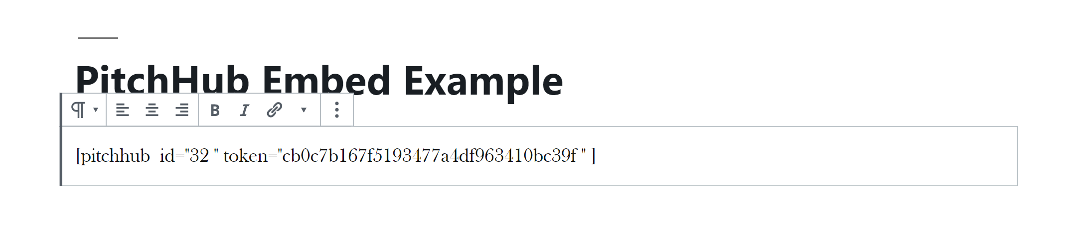 Example of entering PitchHub embed shortcode