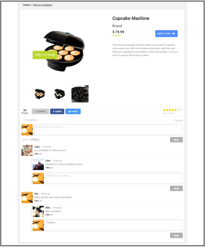 <p>Page with the integration of Pivto's social module. Social features such as commenting, rating and sharing are visible.</p>