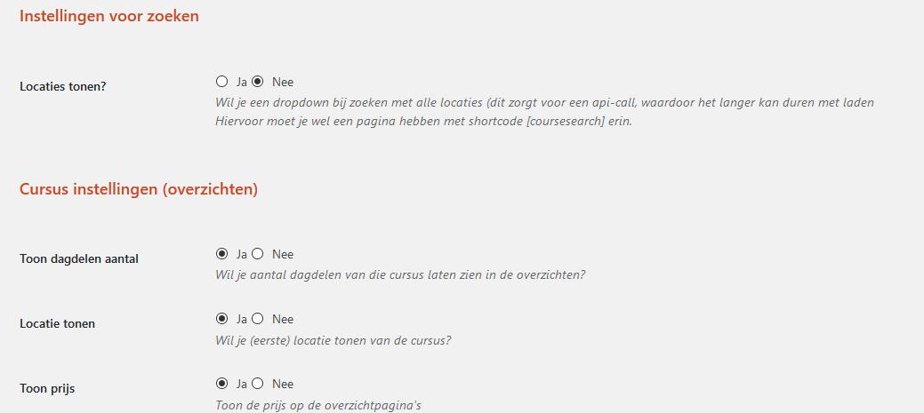 Instellingen in Wordpress Admin