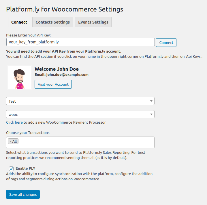 The page where you can set up your plugin. Connect it with your Platform.ly account