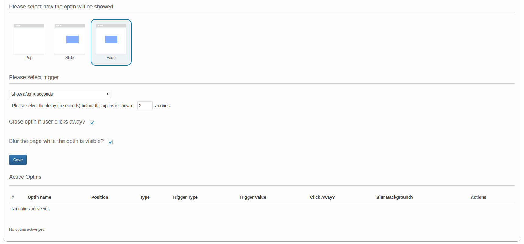 The lower half of the page where you manage your Platform.ly optin forms.
