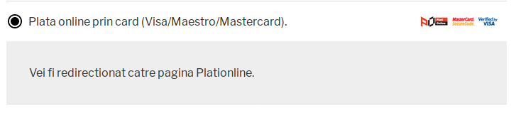 PlatiOnline payment method selection