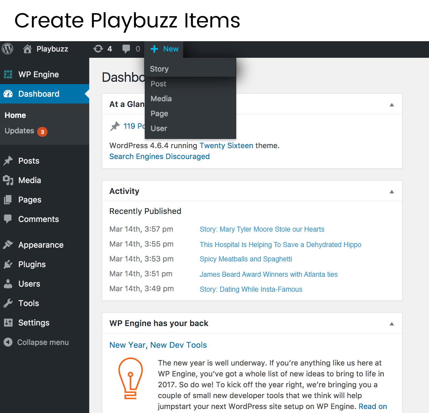 """Start creating by clicking the new post shortcut in your WordPress editor and choosing """"Playbuzz."""""""
