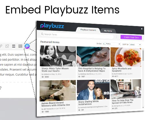 Use Playbuzz's instant search panel to find content and embed it directly in your post.