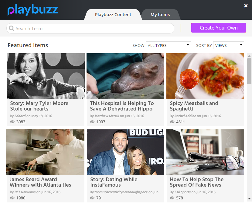 Select one of Playbuzz's featured items or search for an item relevant to your audience.