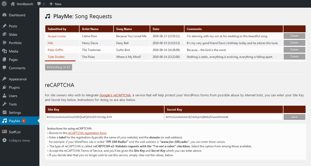The back-end shows the currently requested songs, the newest at the top, and a button to hide/dismiss each