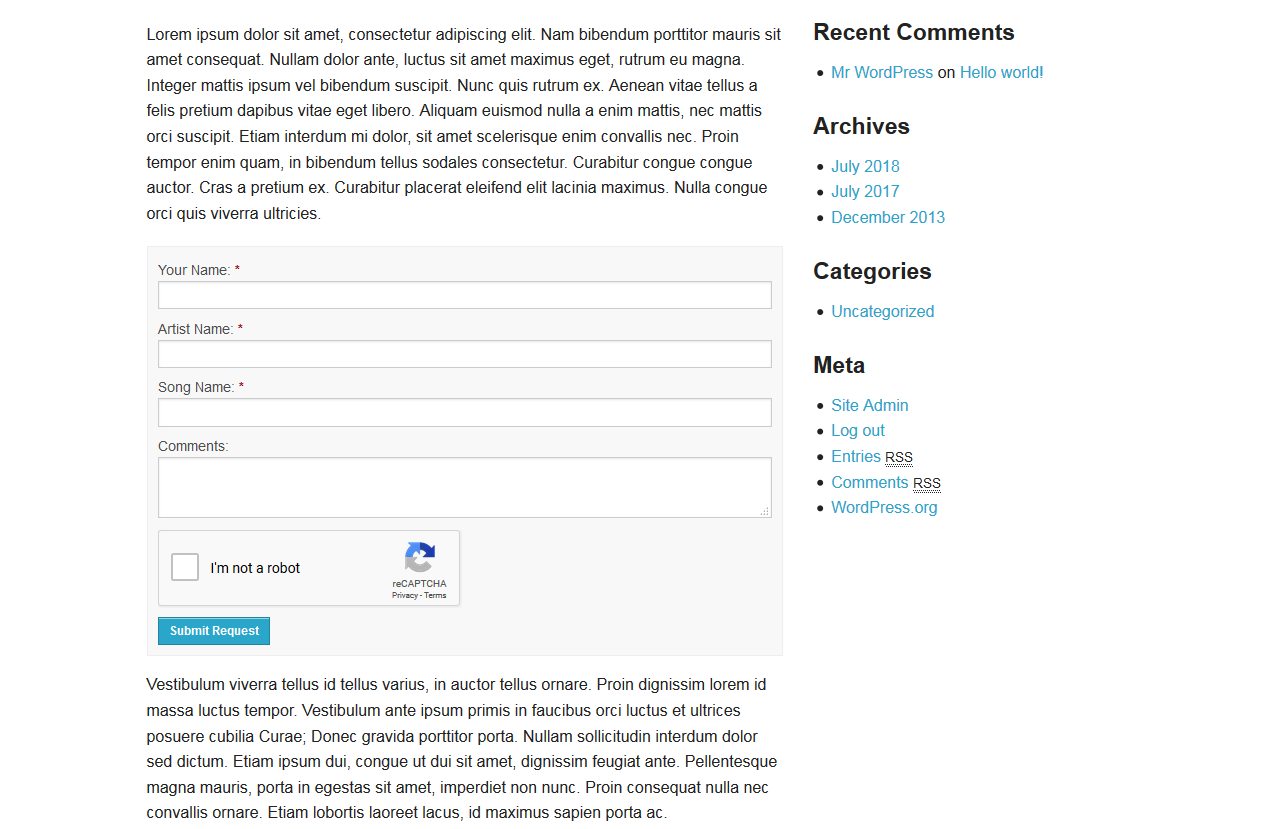 The front-end form can be easily be dropped into any WordPress page using the shortcode strong[playme]/strong