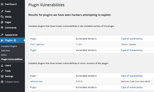 <p>Full Listing of Vulnerabilities With Frequent Exploitation Attempts That Have Existed in Installed Plugins</p>