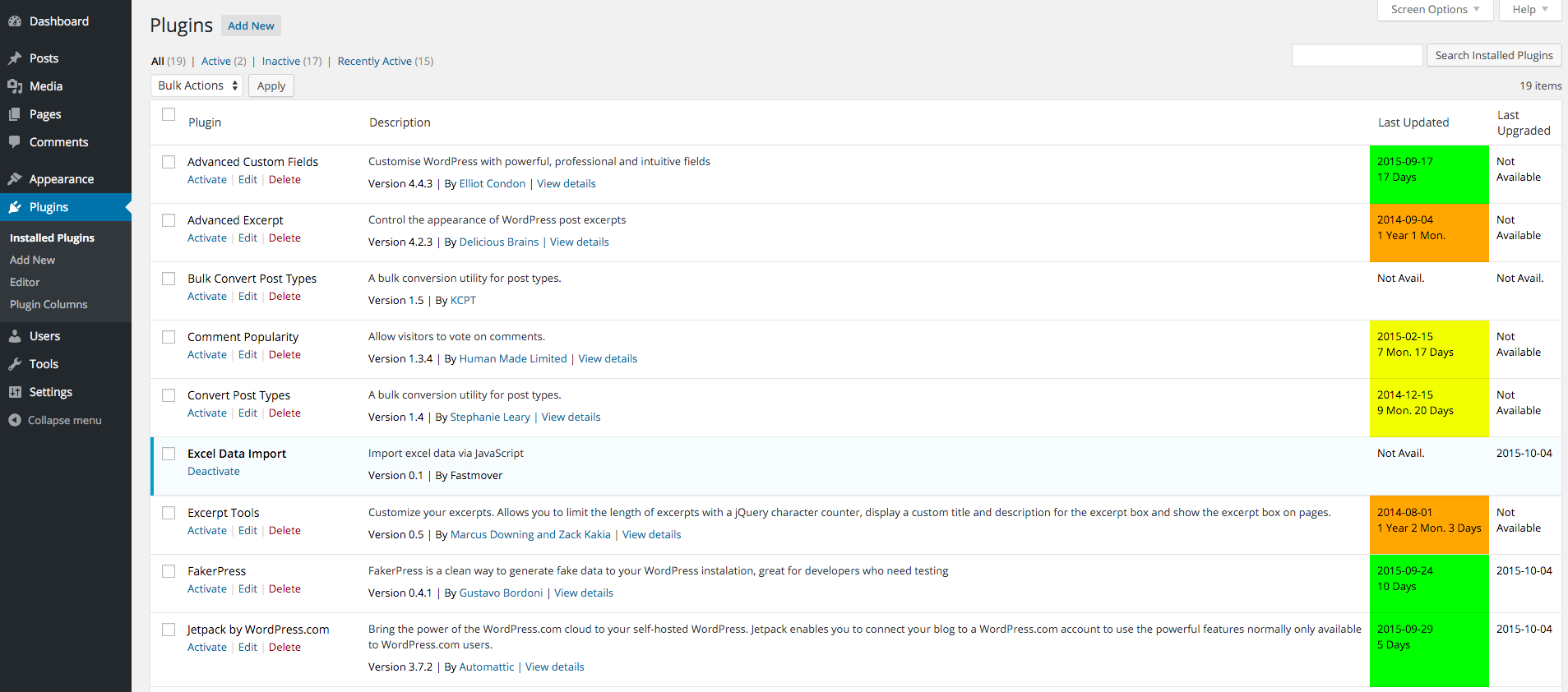 As you can see, the plugins table now has 2 columns on the right side labeled: Last Updated and Last Upgraded.