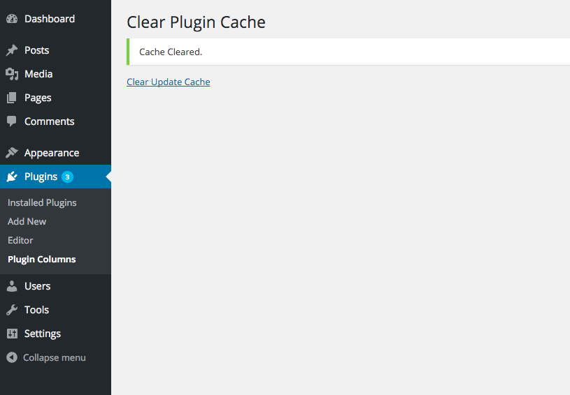 A page dedicated to clearing cache on the Last Updated Column.