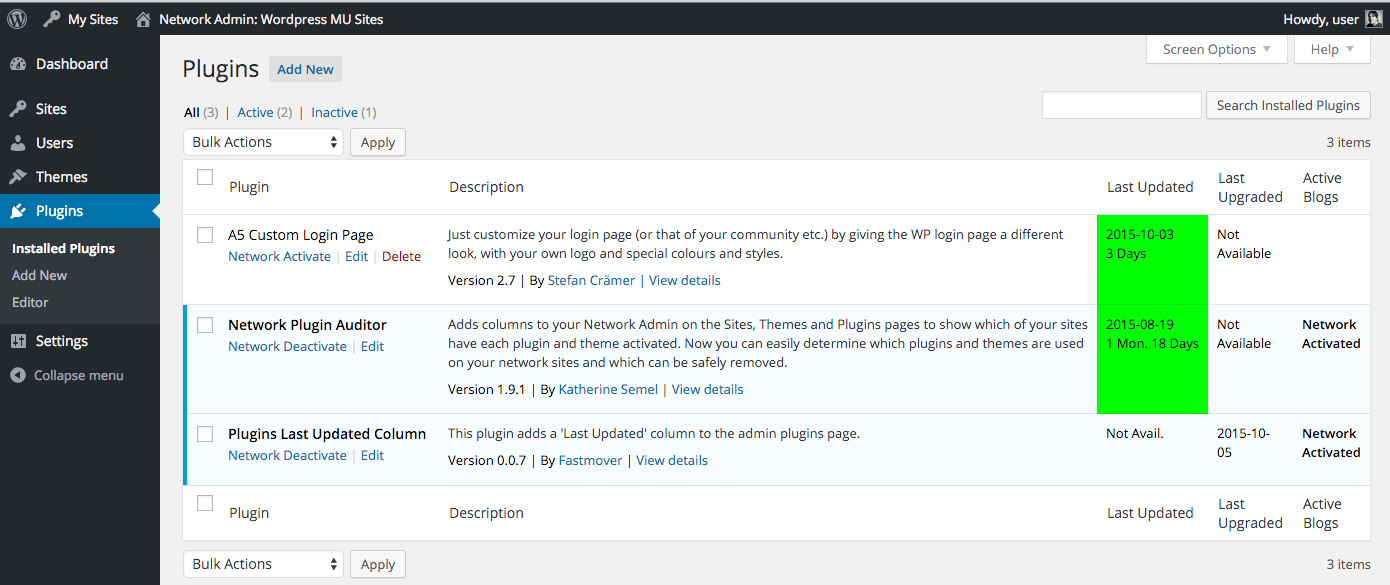 Shows a WordPress MultiSite Network Plugin page with last updated / last upgraded columns.