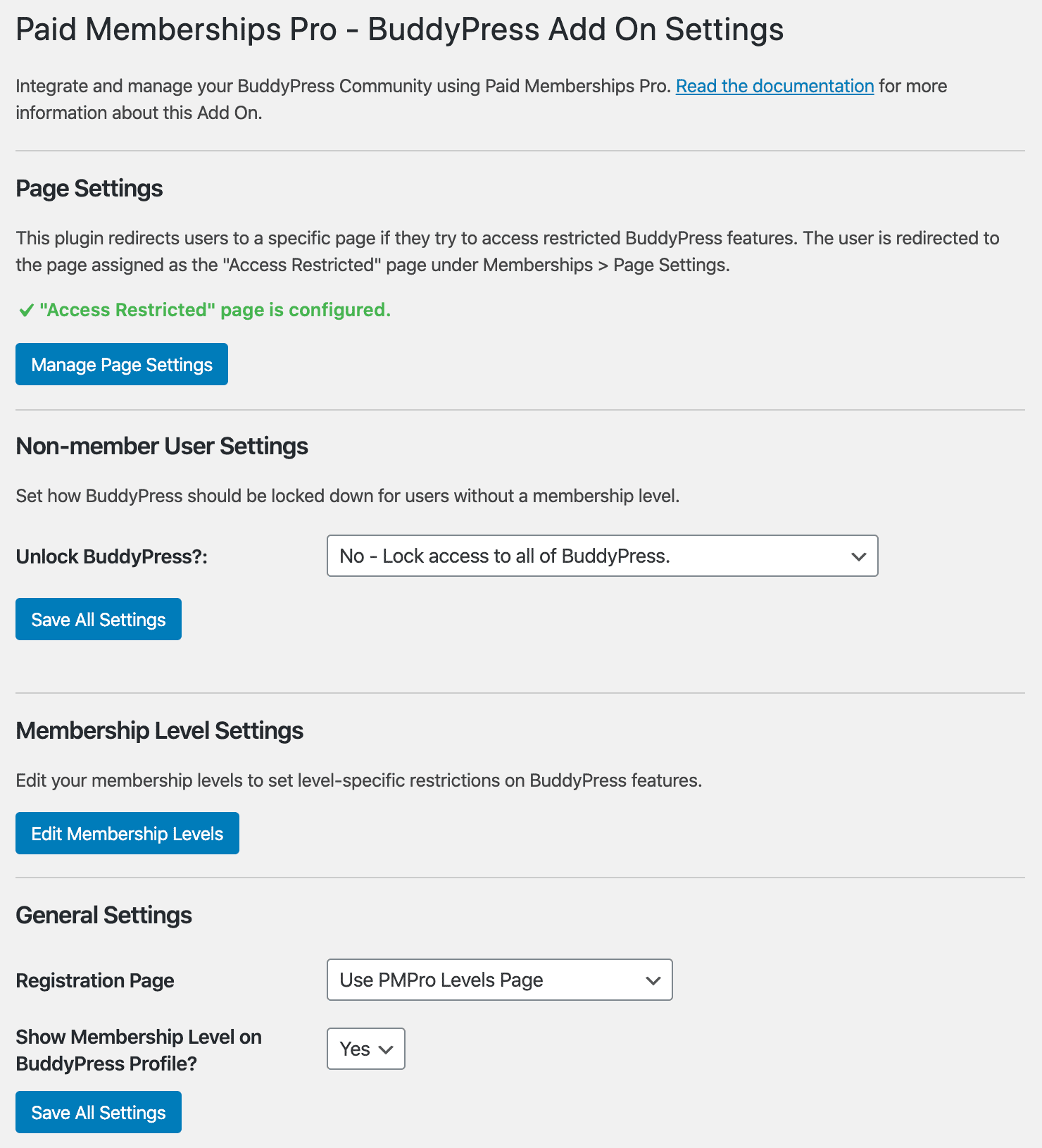 <strong>PMPro BuddyPress Settings</strong> - Explore and manage the features of the integration plugin, including Page Settings, Membership Level Settings, and General Settings.