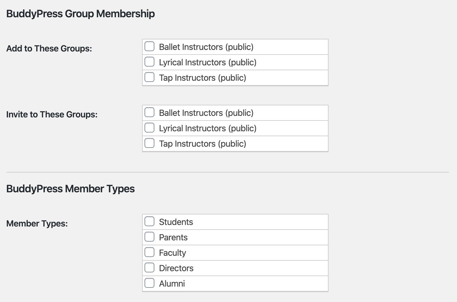 <strong>Group and Member Type Settings</strong> - Add or Invite Members to Groups and Assign Member Types by Membership Level under Memberships > Edit Level.