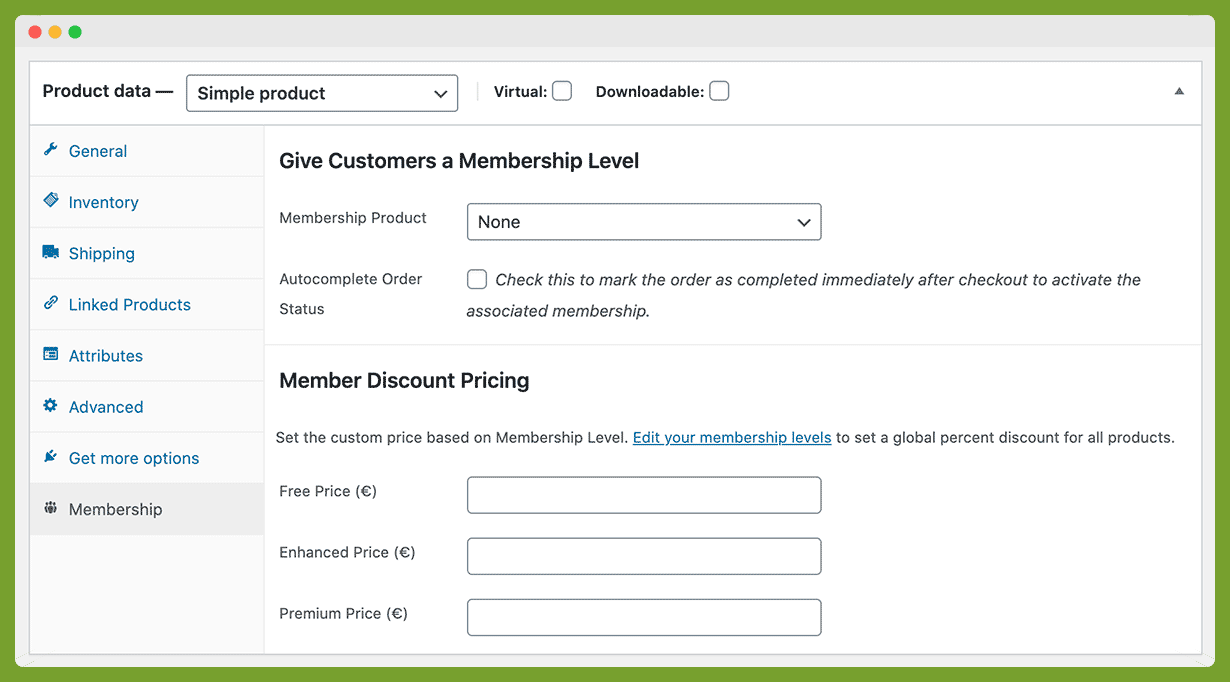 """The """"Membership"""" meta box on a single product. Optionally use this WooCommerce Product to buy a PMPro Membership Level or set specific pricing based on membership level for each product."""