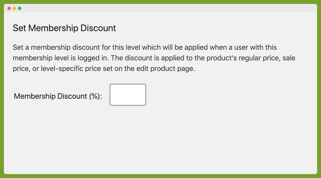 """The """"Set Membership Discount"""" field on the """"Edit Membership Level"""" page (Memberships > Settings > Membership Levels > Edit)."""