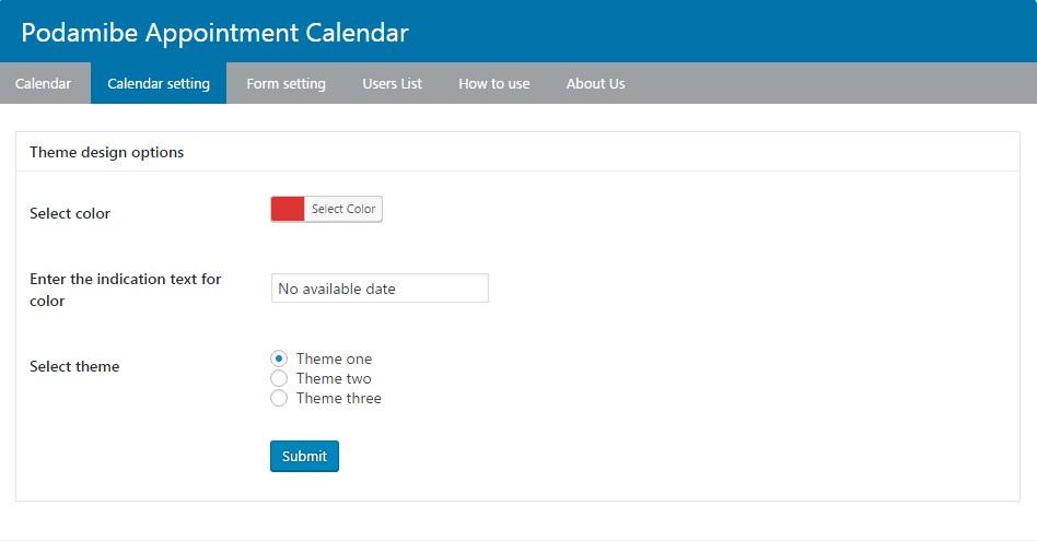 Backend calendar setting