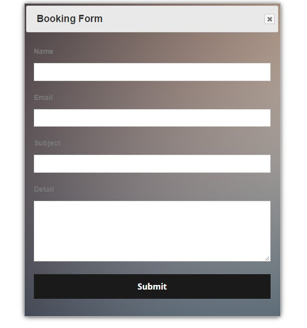 Front view of booking form