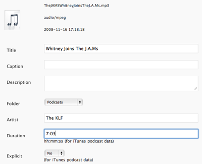 Artist, Duration and Explicit metadata appear for audio items in the Media Library.