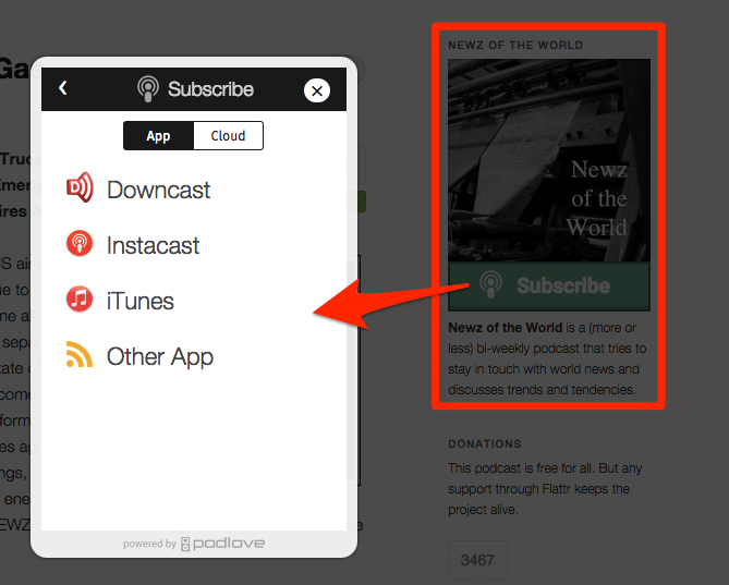 Includes the Podlove Subscribe Button, the easiest way for listeners to subscribe to your podcast.