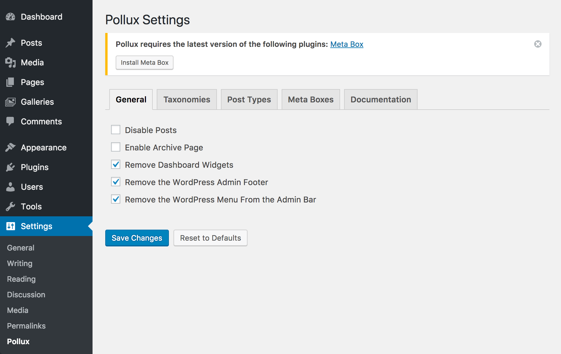 "<p>A view of the Pollux settings ""General"" tab</p>"