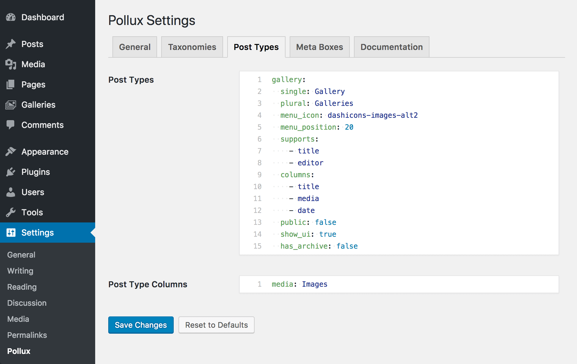 "<p>A view of the Pollux settings ""Post Types"" tab</p>"