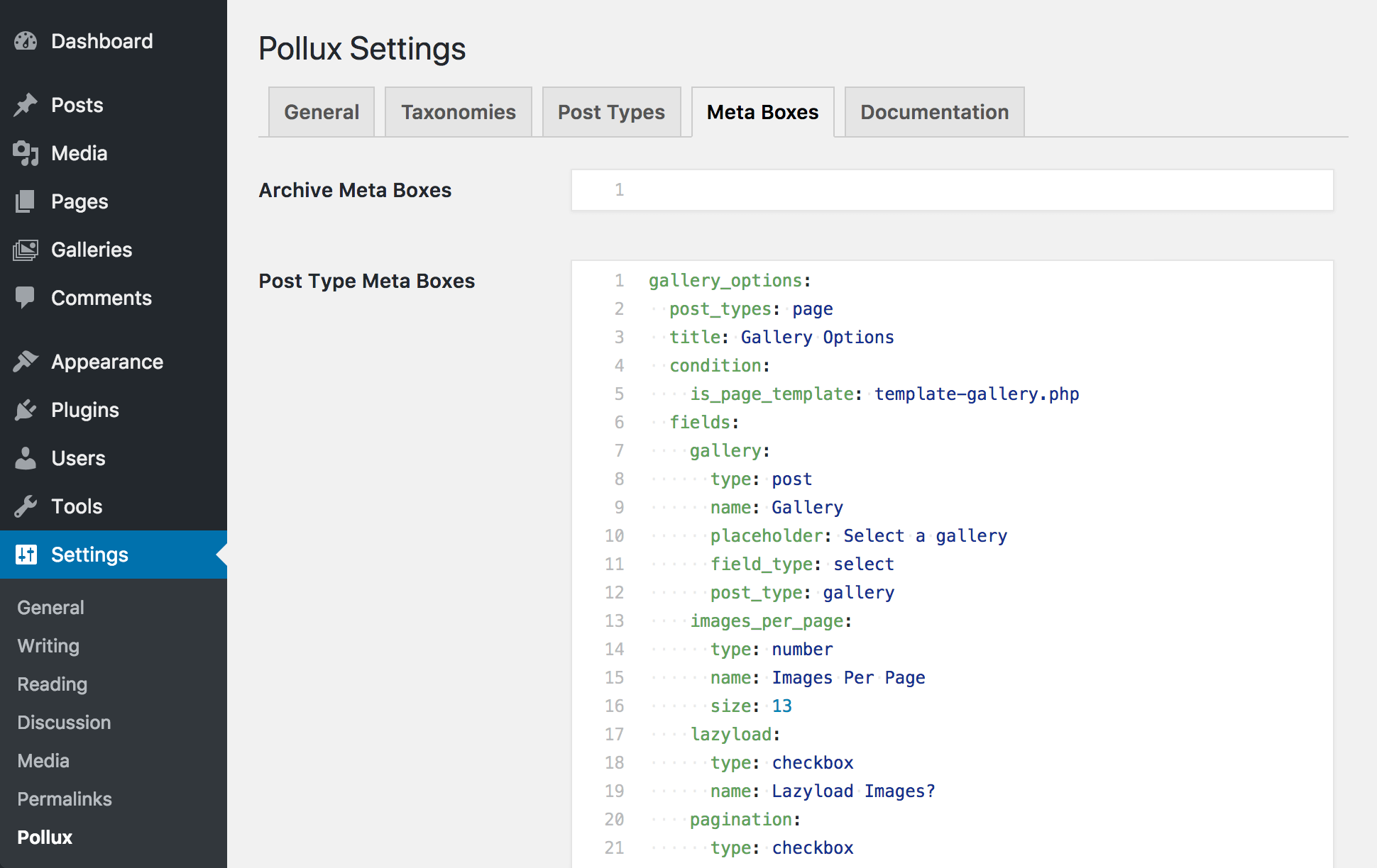 "<p>A view of the Pollux settings ""Meta Boxes"" tab</p>"
