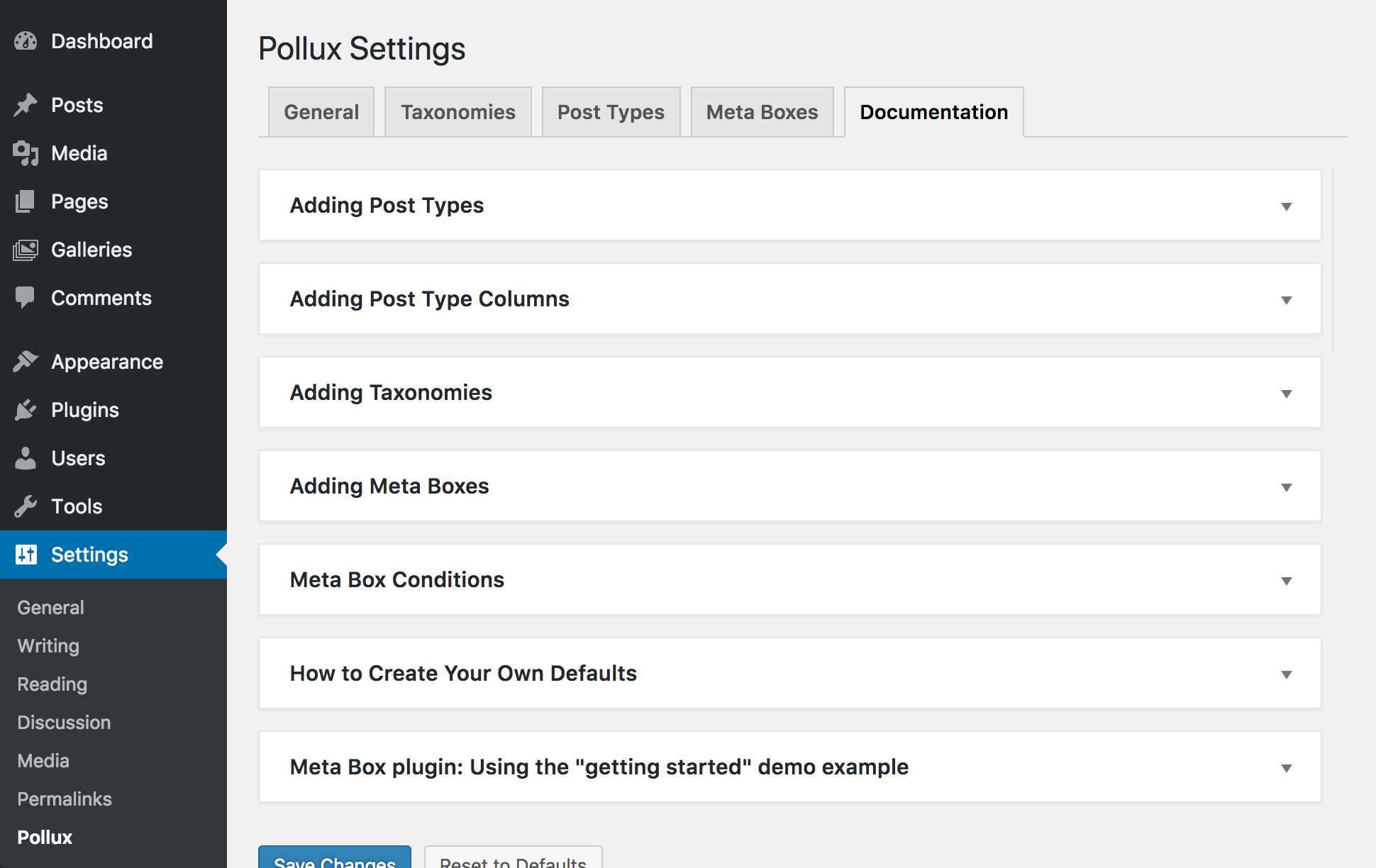 <p>Pollux includes complete documentation</p>
