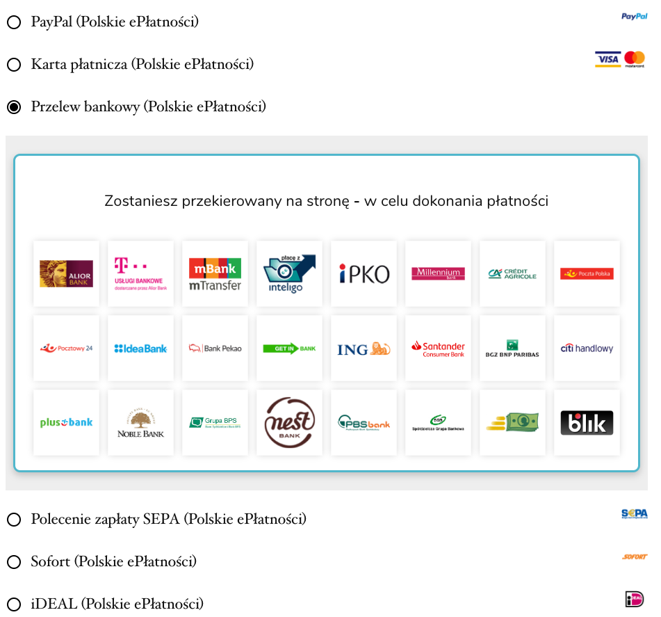 The checkout payment methods