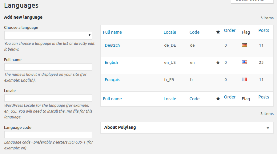 The Polylang languages admin panel
