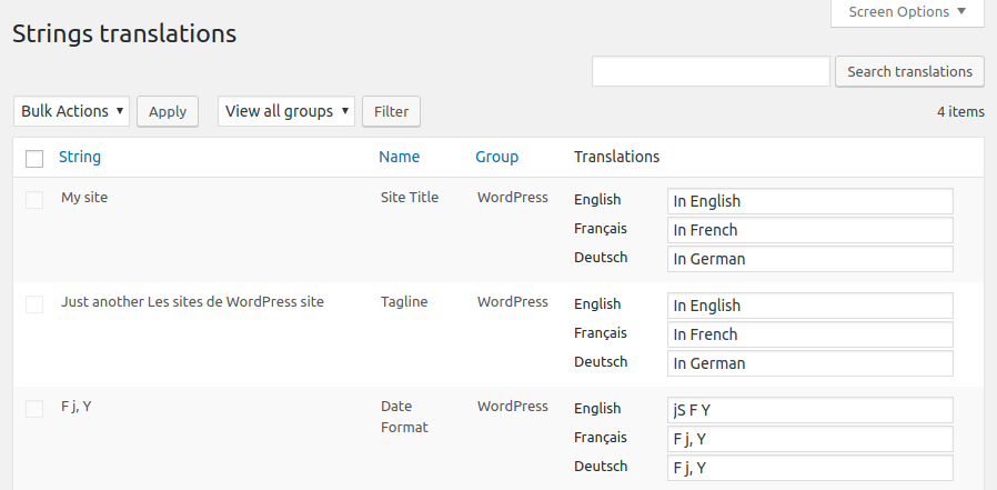 The Strings translations admin panel