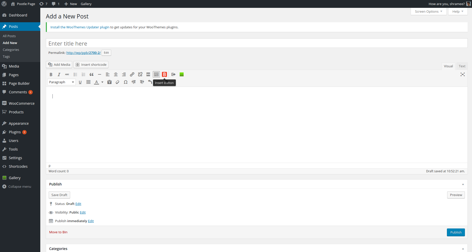 <p><em>Insert button</em> button in WordPress editor</p>