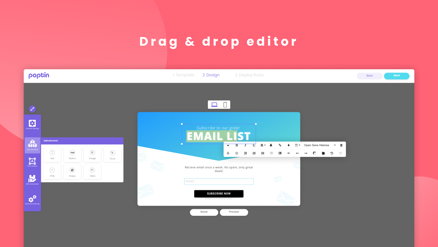 Fully customizable popups and forms