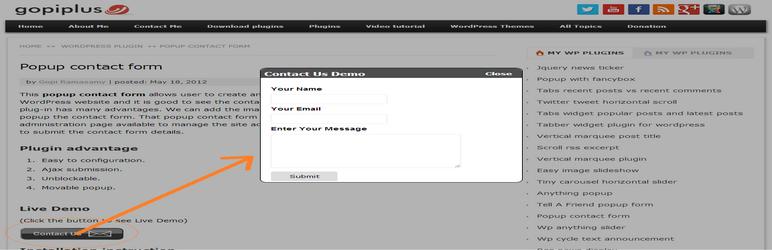 Popup Formulaire de contact | Icône