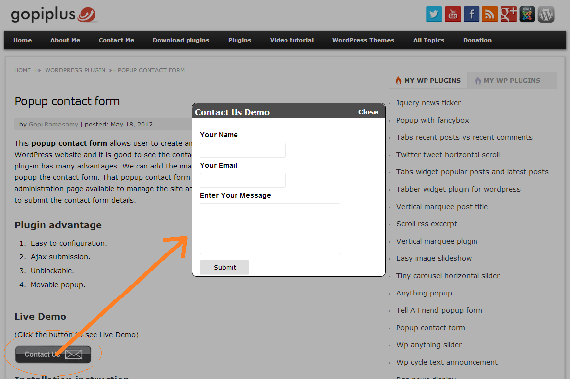 popup-contact-form screenshot 1