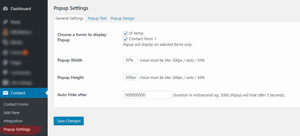 popup for contact form 7 wordpress org