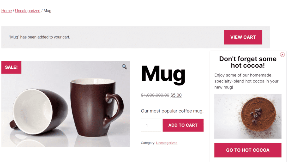 Example popup using our WooCommerce extension to make a popup appear when a product is added to their cart.