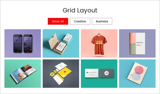 Portfolio Designer with 'Grid' Layout + Filter Option