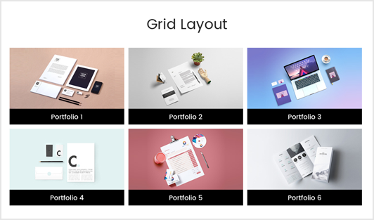 Portfolio Designer with 'Grid' Layout + Bottom Content Position