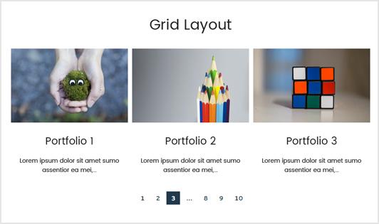 Portfolio Designer with 'Grid' Layout + Bottom Content Position (Portfolio Content)