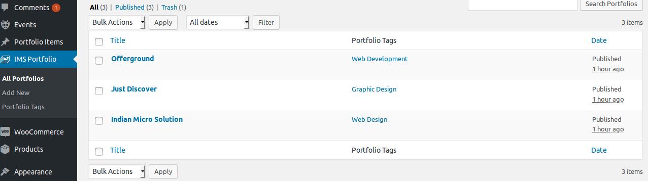 <p><strong>All portfolio list</strong> - See all Portfolio list under menu of Portfolio.</p>
