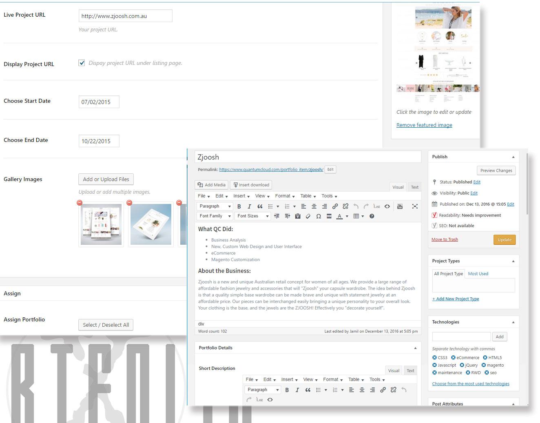 Back End Add or Edit Portfolio Items