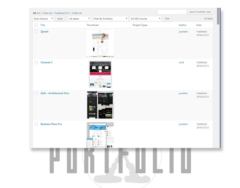 Back End Portfolio Items List