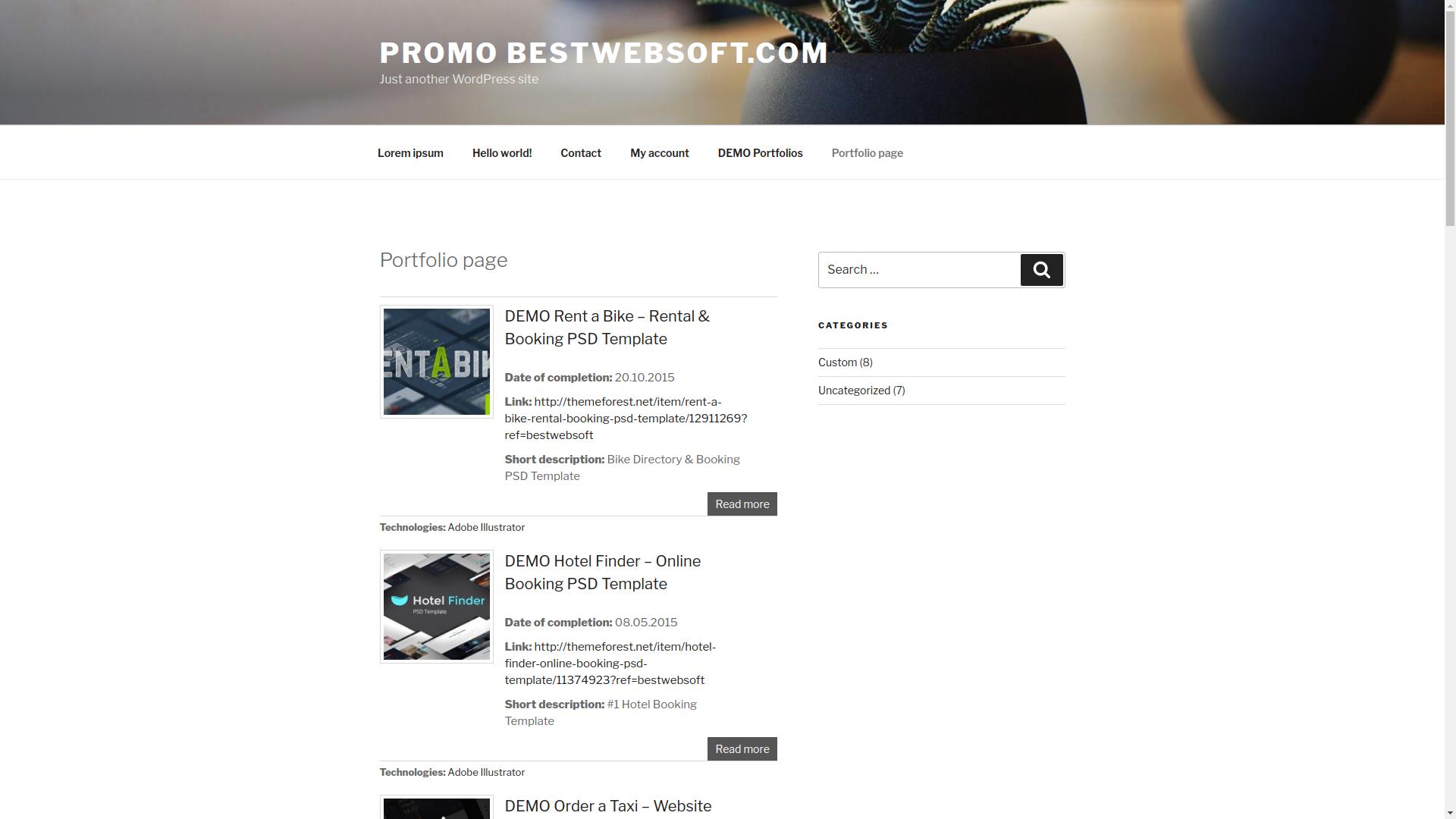 Portfolio frontend page (for all portfolios).