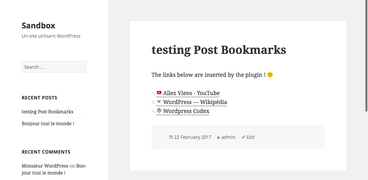 Links displayed under a post