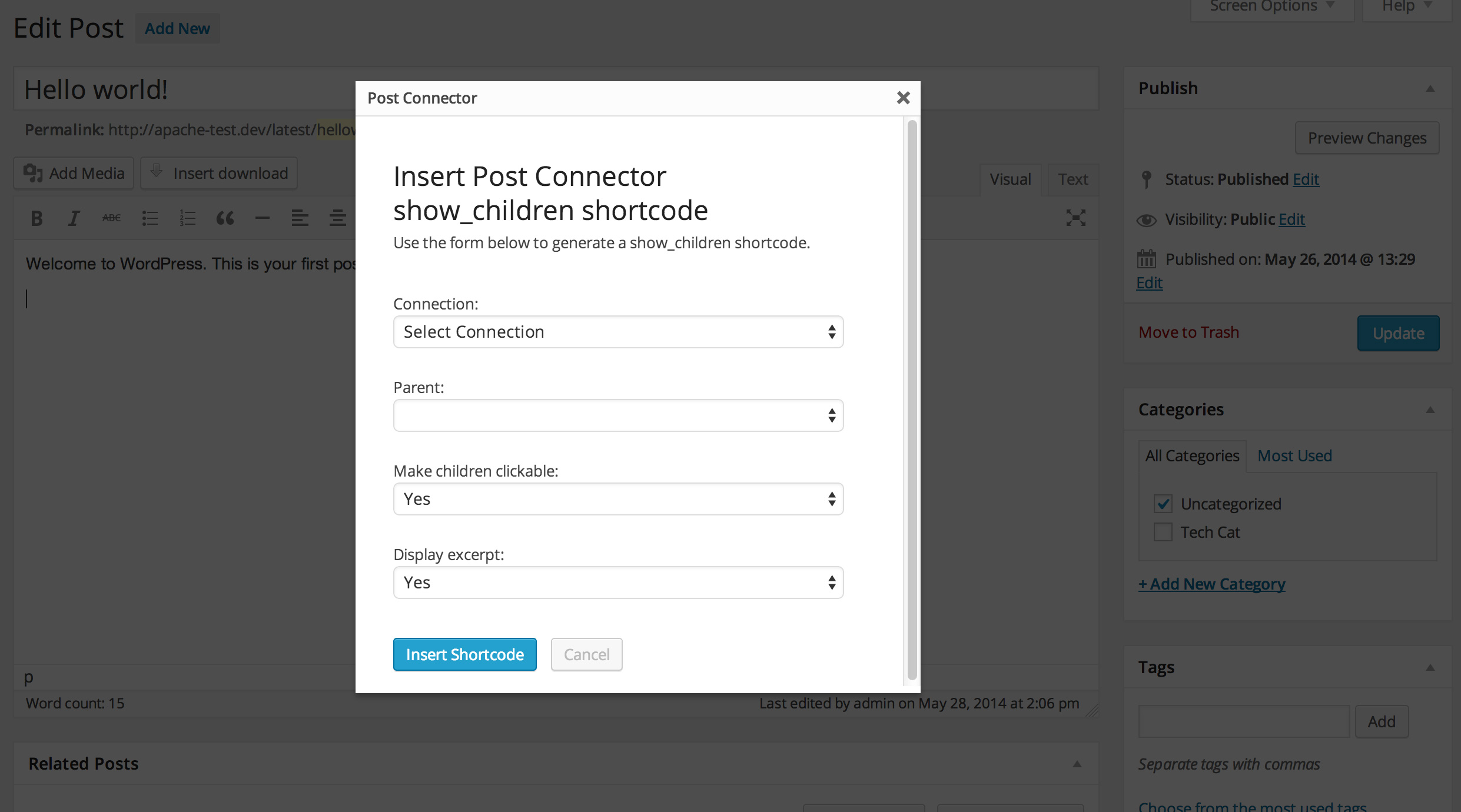 Post Connector comes with a shortcode generator so you can display linked posts anywhere you want.