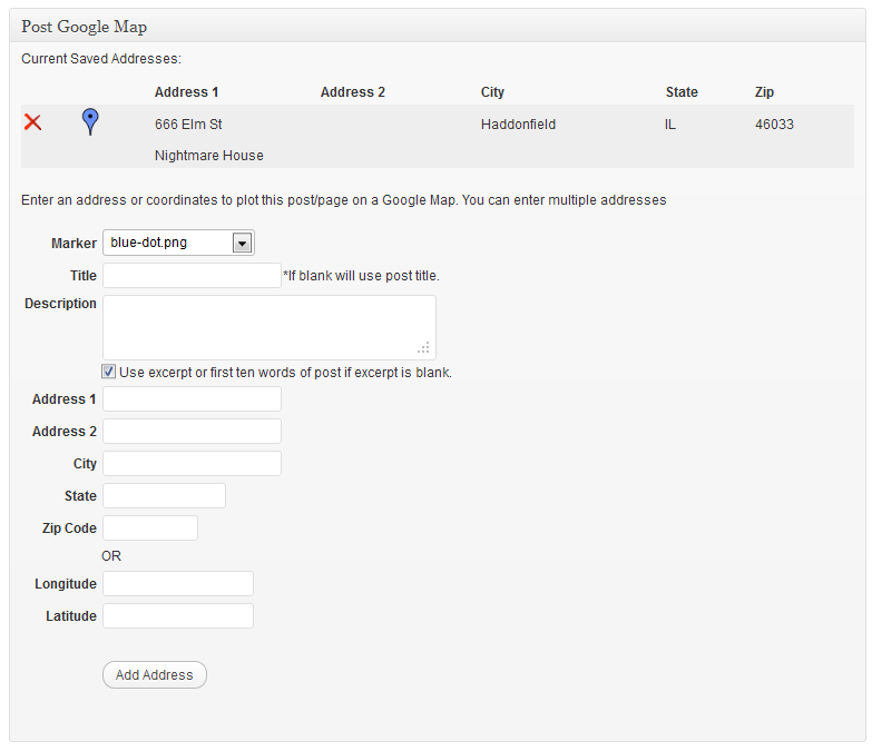 Add new address form.  Multiple addresses can be added to each post/page