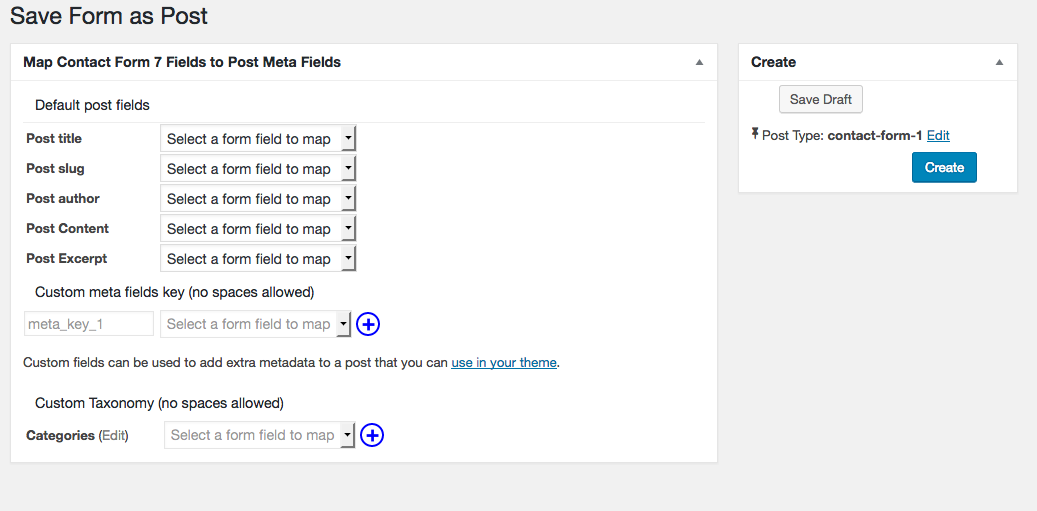 You can now map forms fields to custom taxonomies