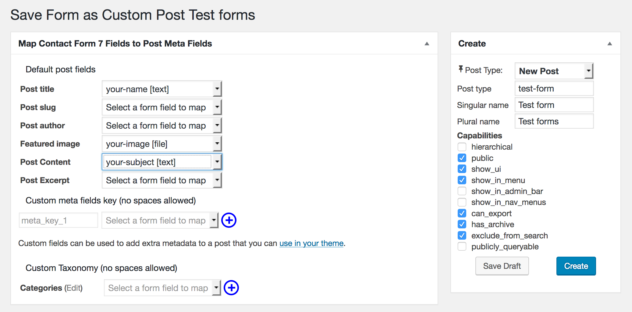 If your form contains a file upload field, the featured-image option will appear on the mapping screen.  Select your file field to map the uploaded image to the post thumbnail.